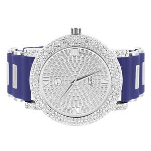 Iced-Out-Techno-Pave-Watch-Simulated-Diamond-Dial-Analog-Blue-Bullet-Rubber-Band
