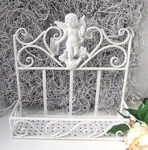 Details zu Wandregal ANGEL Creme Weiß Bad Küchen Regal Metall Shabby  Landhaus
