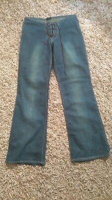Leale Vintage 80s Stretch Sbiadito Vita Bassa Svasato Jeans Taglia 12-mostra Il Titolo Originale Originale Al 100%