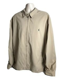 Vtg-Polo-Ralph-Lauren-Mens-Harrington-Full-Zip-Jacket-Beige-Plaid-Lining-2LT