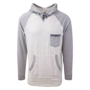 Rip-Curl-Men-039-s-Striped-Light-Grey-Oatmeal-L-S-Pullover-Hoodie