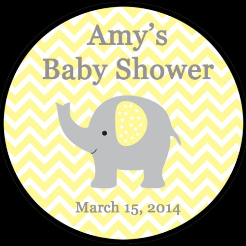 """Yellow Elephant Baby Shower 20 Personalized Round Stickers 2/"""" Inches"""