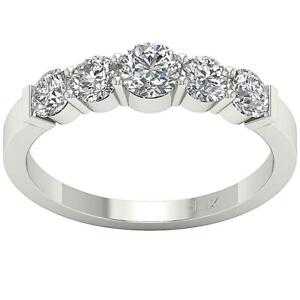 I1-G-1-25-Ct-Round-Diamond-14K-Solid-Gold-Five-Stone-Engagement-Ring-Appraisal