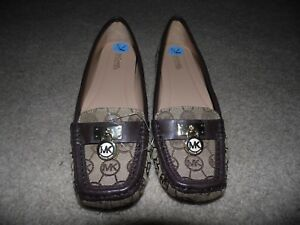Details about NEW Sz 7.5 Michael Kors Women's Hamilton Monogram Brown Khaki Jacquard Loafer