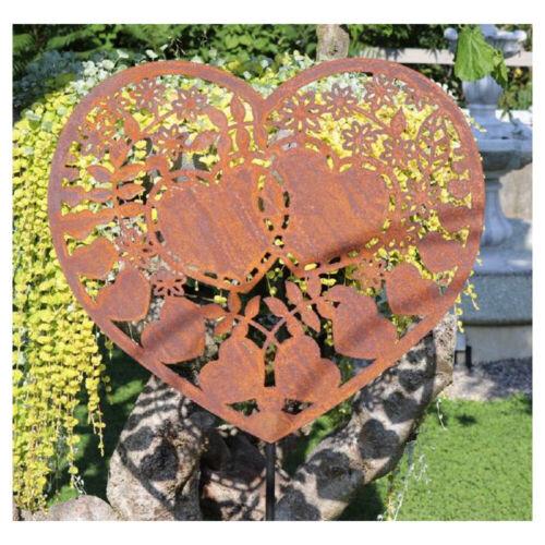 Edelrost Gartendekoration Herz zum Stecken 160x53cm Gartenstecker Schild Garten