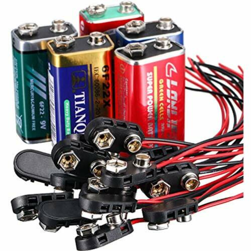 I 10 Pack 9 V Battery Clip Connector Long Cable Connection Hard Shell Black Red