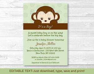 Details About Mod Monkey Printable Baby Shower Invitation Editable PDF