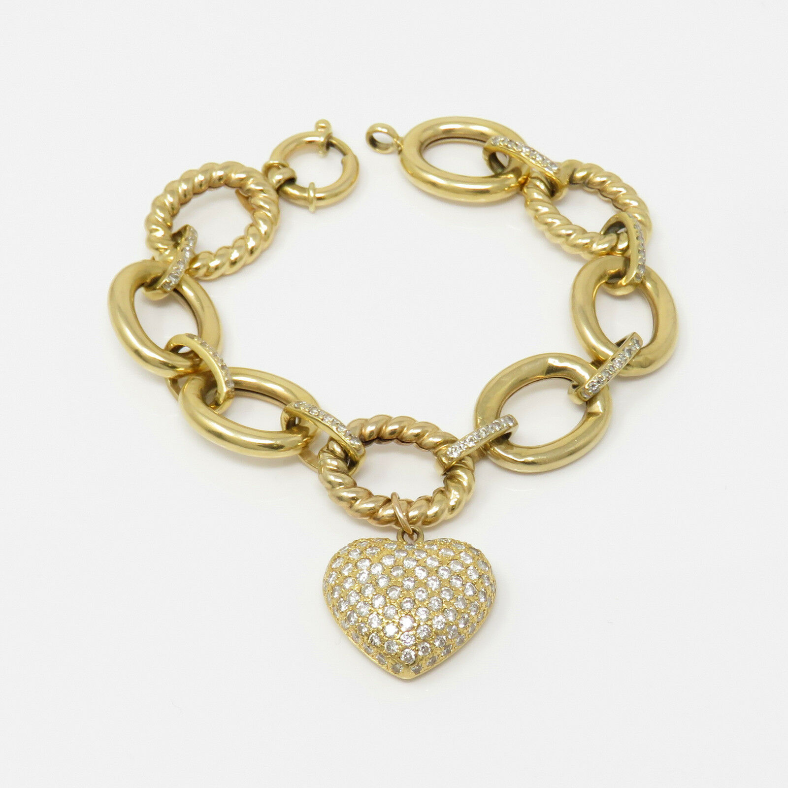 NYJEWEL 18k gold 4ct Diamond Heart Charm Cable Link Bracelet
