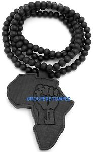 Africa-Map-Power-Fist-Pendant-Necklace-With-36-Inch-Wood-Bead-Chain