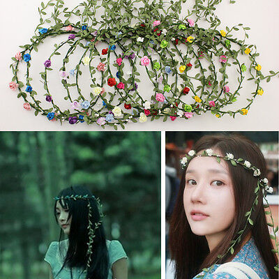 Lady Girl Boho Floral Hoop Headband Festival Wedding Flower Garland Hair Wreaths
