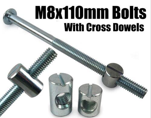 M8 x 110 mm Meubles Connecteur Boulons /& Cross Dowel Tonneau Nuts Unité Lit Lit Bureau