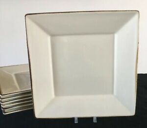 Pottery-Barn-ASIAN-SQUARE-PUTTY-10-5-034-Dinner-Plate-s-Tan-Ivory-Brown-Trim-Japan