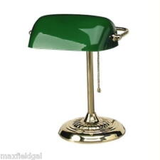 "Used Ledu Traditional Bankers Lamp14"" Height, Incandescent Bulb, GlasGreen shade"