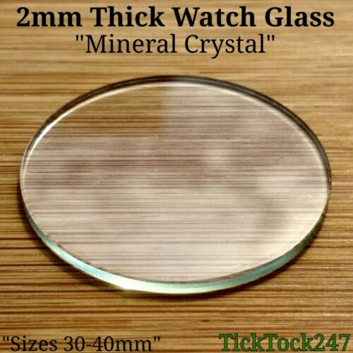 Lentille Large 30-40 mm 2 mm épais Plat Cristal Minéral Verre de montre visage