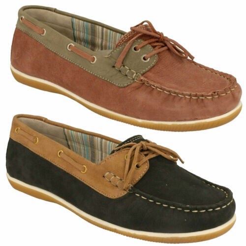 LADIES PADDERS MARINA 287 FLAT SLIP ON WIDE FIT CASUAL MOCCASIN BOAT SHOES