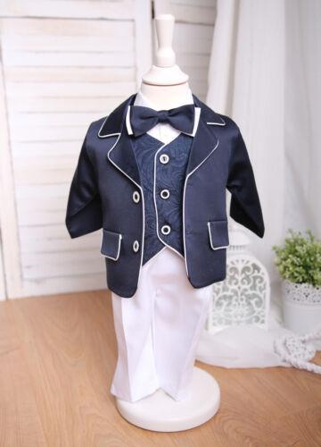 LASSE ♥ Maritimer Taufanzug Festanzug Babyanzug weiß//dunkelblau NEU