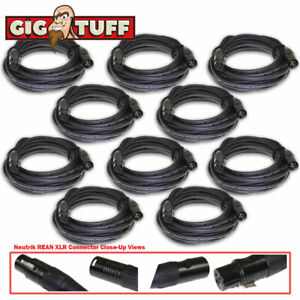 10-pack Gig Tuff 25 Ft (environ 7.62 M) Tour Pro Microphone Câble Neutrik Rean Xlr Awg 20 6.5 Mm-afficher Le Titre D'origine
