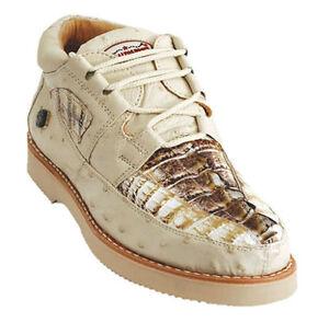 Los-Altos-Genuine-NATURAL-Caiman-Crocodile-Ostrich-Casual-Shoes-Lace-Up-EE