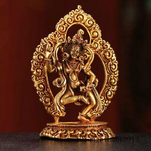 Tibetan-brass-gilt-Religious-rites-handmade-Buddhism-Dakini-Buddha-statue