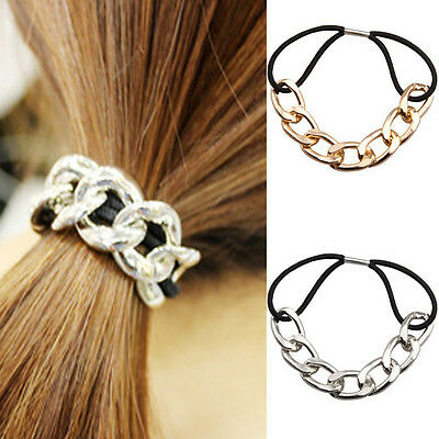 Women Girls Metal Chain Headband Head Piece Elastic Hair band Head Knot Rope