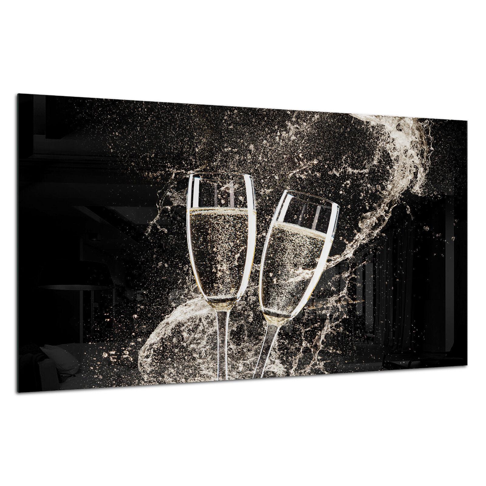 Vidrio templado Foto Impresión Parojo Arte Imagen Vino Champán Splash Prizma GWA0336