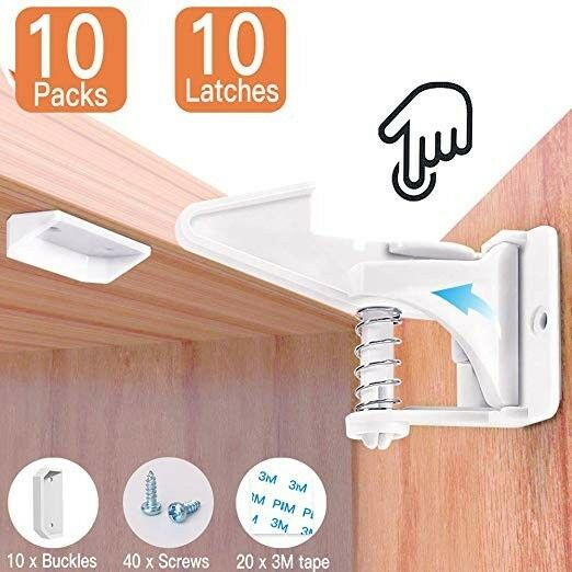 8 Pack with Latches and Safety Straps Baby Cabinet Safety Latches and Baby Proofing Kit No Drilling Magnetic Child Safety Cabinet Locks