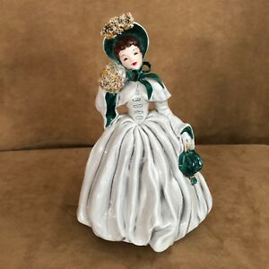 Vintage-Florence-Ceramics-Scarlett-Lady-Figurine-Made-in-USA-green-Pasadena-CA