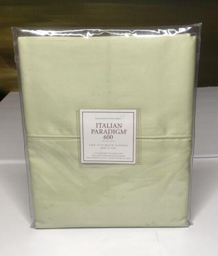 Restoration Hardware Italian Paradigm 600 Sateen King Pillowcases Celery NEW $99