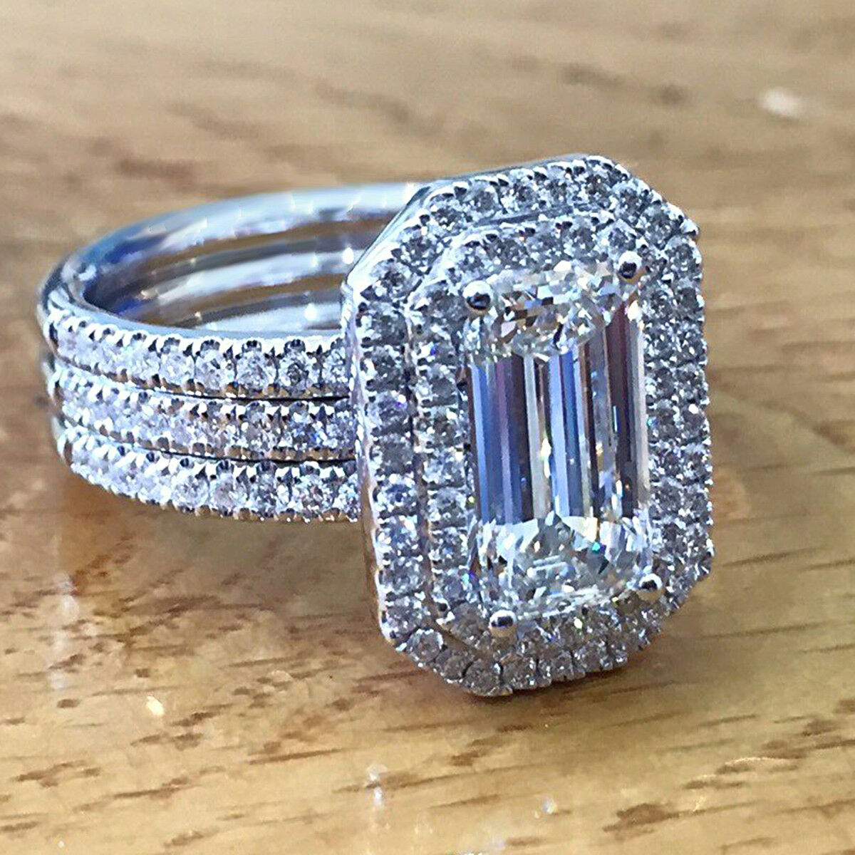 5 CT Emerald Cut Diamond Solid 10k White gold Trio Set Engagement Ring