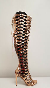 244d060a44b2 Womens Rose Gold Laser Cut Out Over The Knee Peep Toe Caged High ...