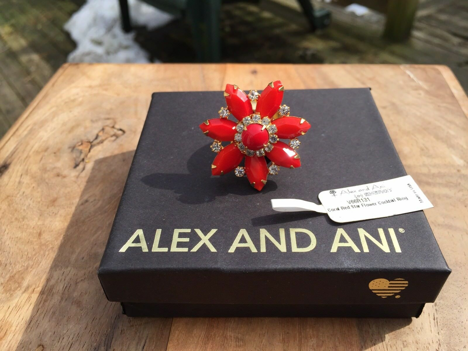 NWT ALEX and ANI CORAL RED STAR FLOWER gold Crystal Prong Set CUFF WRAP RING