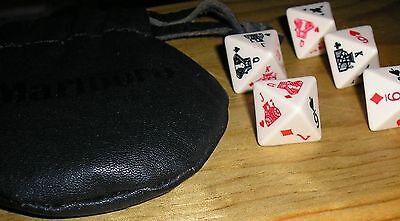 Vtg Traveling 8 Sided Poker Dice Set Black Leather Pouch w Instructions Marlboro