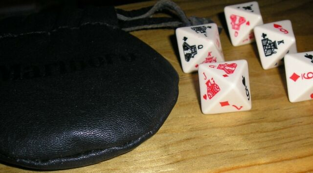 Vtg Traveling 8 Sided Poker Dice Set Black Leather Pouch w Instructions Marlboro