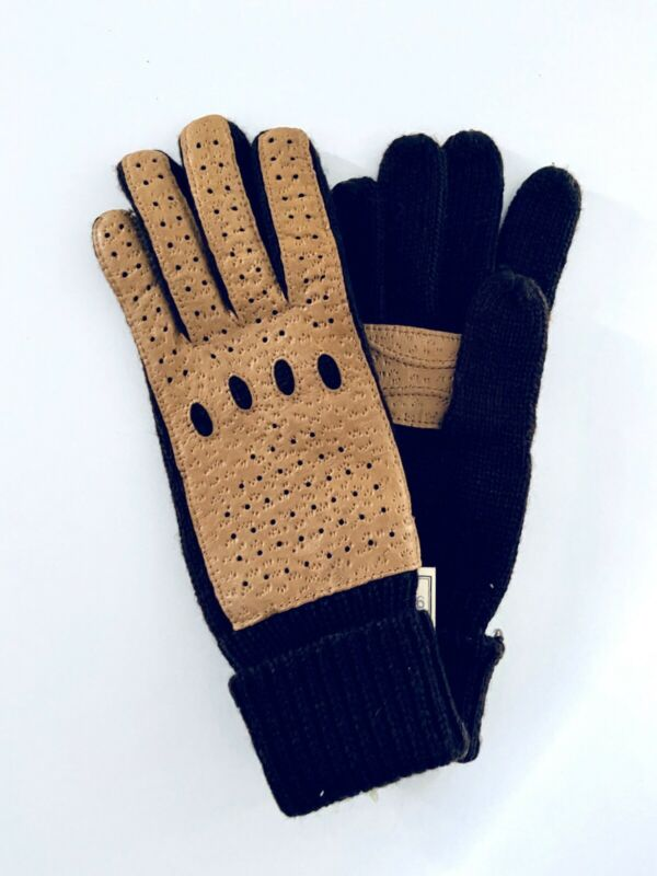 Systematic Aris Women Brown Acrylic Nylon W Beige Leather Lining Winter Gloves New Size All