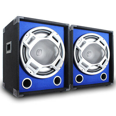 "2x Skytec 15"" Active PA Party Blue LED Bass Subwoofers DJ Disco Speakers 1200W"