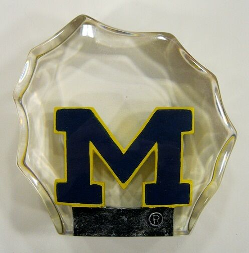 Michigan University Wolverines Lucite Paper Weight by Collectors Guild
