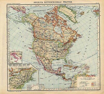 La Cartina Geografica Degli Stati Uniti.Mappa America Del Nord Politica
