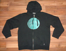 mens black Burton graphic full zip hoodie cotton sweatshirt size L EUC
