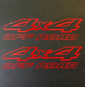 2 NEW RED 4X4 OFF ROAD DECAL STICKER 4WD TRUCK FORD CHEVY DODGE TOYOTA GMC LOGO