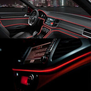 Red 2M//6.5FT 12V LED Car Interior Decorative Atmosphere Wire Strip Light Lamp