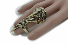 Women Gold Metal Ring Fashion Jewelry Long Finger Nail Bird Mask Raven Size 7