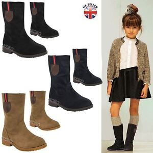 Details about GIRLS KIDS CHILDRENS NEW CALF HIGH ANKLE BOOTS FLAT LOW HEEL  GRIP SOLE SHOE SIZE