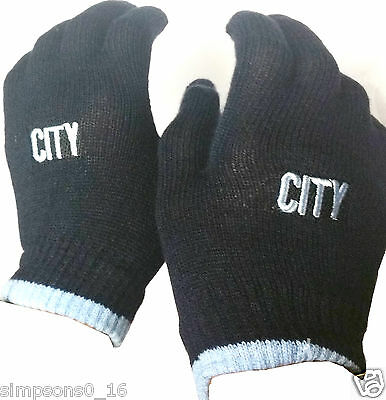 Manchester City FC Childrens//Kids Knitted Gloves