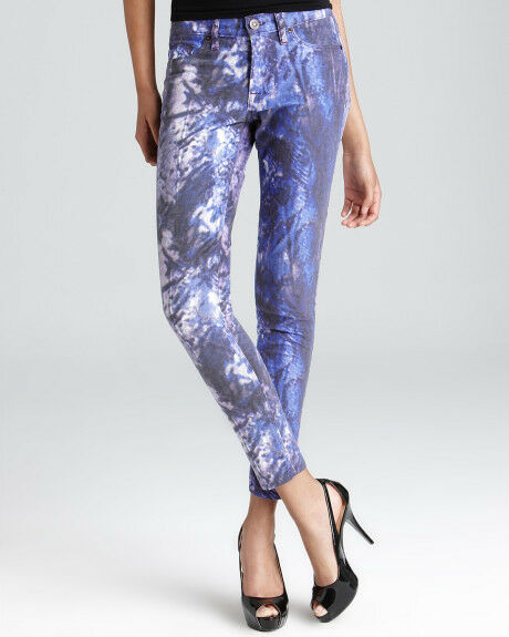 225 Hudson Jeans Nico Mid Rise Skinny in Purple Galaxy 30