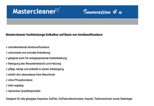 Mastercleaner Descalcificar  Descaler 5 L cápsulas Jura Siemens . 5,96 €//Litro
