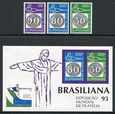 Briefmarken Block 60 ** Mnh Volumen Groß Aus Dem Ausland Importiert Surinam 1993 Brasiliana Ochsenaugen Briefmarken 1450-1452 Europa