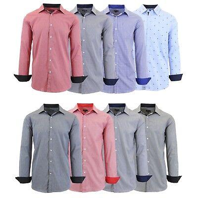 Mens Long Sleeve Polo Shirt Button Work Unfirom School Fancy Dress S M L XL XXL