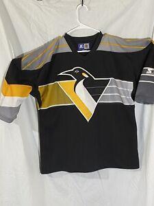 PITTSBURGH PENGUINS Robo Penguin STARTER Black NHL HOCKEY JERSEY Adult Lg
