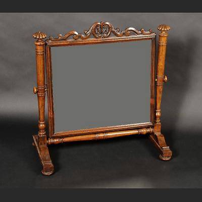 Pre-victorian (pre-1837) A Beautiful Antique George Iv 1830 Rosewood Tilting Mirror/dressing Glass Carved