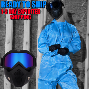 Face Cover Helmet Paintball Face Shield Black Guard Blue Goggles USA Seller NEW